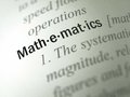Mathematics dictionary definition the word in the foreground Stock Photography
