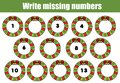 Mathematics educational game for children. Write the missing numbers. Christmas theme