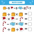 Mathematics educational game for children. Counting equations worksheet
