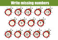Mathematics educational game for children. Write the missing numbers