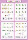 Mathematics educational game for kids, fun worksheets for children, Children are learning to solve problems.