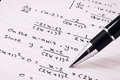 Mathematics or Equations close-up. Homework. Solving Mathematical Problem. Royalty Free Stock Photo