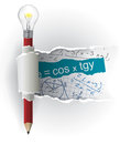 Mathematics formulas Cheat Sheets with pencil. Royalty Free Stock Photo