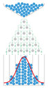 Mathematics of the Galton board with normal distribution