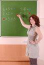 Mathematics teacher in the classroom Royalty Free Stock Photography