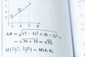 Mathematics textbook page of maths assignment with chart Royalty Free Stock Image