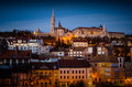 Mathias Cathedral and Fishermans Bastion at night time , Budapes Royalty Free Stock Photo