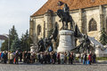 Mathias rex statue of the king with many tourists in visit to cluj napoca romania Stock Photos