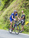 Mathieu ladagnous on col du tourmalet tour de france july the french cyclist fdj frteam climbing the difficult road to in Royalty Free Stock Photography