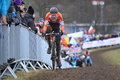 Mathieu van der poel cyclo cross in world championship cyclocross race held in tabor on Royalty Free Stock Photography