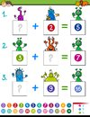 Maths addition educational game with aliens Royalty Free Stock Photo