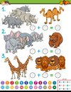 Maths addition educational game with animals Royalty Free Stock Photo