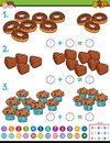 Maths addition educational game with candies Royalty Free Stock Photo