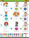 Maths addition educational game with children Royalty Free Stock Photo