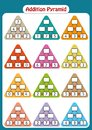 Maths Pyramids for Mental Maths Practice, complete the missing numbers, math worksheet for kids