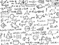 Maths and Trigonometry hand drawn formulas Background Royalty Free Stock Photo