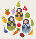Matreshka dolls doll and some fruits and vegetables for your design Royalty Free Stock Images