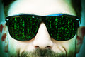Matrix on glasses man with signs sun Royalty Free Stock Photography