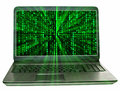 Matrix laptop with green background and light rays Royalty Free Stock Photo