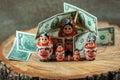Matryoshka art. Russian doll with dollars. Anti crisis money box.
