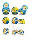 Matryoshka in blue color with a planet inside and inside the world there is soccer ball and inside the ball there is explosion o