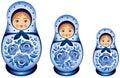 Matryoshka doll family in blue Gzhel style