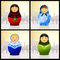 Matryoshka doll illustration of traditional russian Royalty Free Stock Images