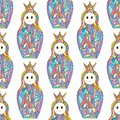 Abstract girls vector seamless pattern. Nesting doll characters texture for surface design, textile, wrapping paper