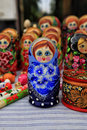 Matryoshka painted in a souvenir shop Stock Photos