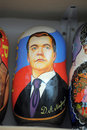 Matryoshka with a portrait of Russian President Royalty Free Stock Photo