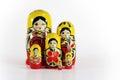 Matryoshka russian nesting doll isolated shot of dolls babushkas with copy space Royalty Free Stock Photos