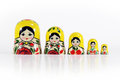Matryoshka russian nesting dolls isolated shot babushkas with copy space lined up from biggest to littlest only the tops of the Royalty Free Stock Photos
