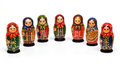 Matryoshka a russian wooden doll on a white background Royalty Free Stock Photo