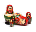 Matryoshka a russian wooden doll on a white background Stock Photo