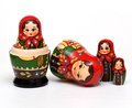 Matryoshka a russian wooden doll on a white background Stock Images