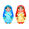 Matryoshka skiing colorful dolls ready for winter Royalty Free Stock Photos