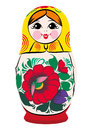 Matryoshka smiling a color vector illustration of a russian traditional doll souvenir also known as russian nesting nested dolls Royalty Free Stock Image