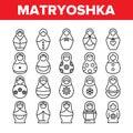 Matryoshka Toy Vector Thin Line Icons Set