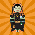 Matryoshka witch doll with and halloween details Royalty Free Stock Images