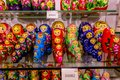 Matryoshkas in souvenir shops, the Old Town Square area. Royalty Free Stock Photo