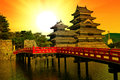Matsumoto castle beautiful medieval in the eastern honshu japan at sunset Royalty Free Stock Photos