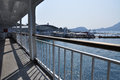 Matsuyama ferry harbor japan the harbour of ehime seen from a deck Stock Photo