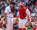 Matt clement and jason varitek boston red sox pitcher catcher speak on the mound Royalty Free Stock Image