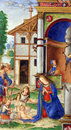 Matteo da Milano: miniatures from the breviary of Alfonso I d`Este: The Birth of Jesus Royalty Free Stock Photo