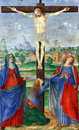 Matteo da Milano: miniatures from the breviary of Alfonso I d`Este: Crucifixion Royalty Free Stock Photo