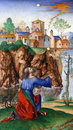 Matteo da Milano: miniatures from the breviary of Alfonso I d`Este: David in prayer Royalty Free Stock Photo