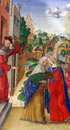 Matteo da Milano: miniatures from the breviary of Alfonso I d`Este: Visitation of the Virgin Mary Royalty Free Stock Photo