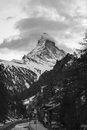 Matterhorn on Black and white Royalty Free Stock Photo