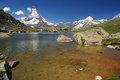 Matterhorn mountain lake near swiss alps Stock Images