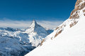 Matterhorn panorama skie slope with in background Stock Photos